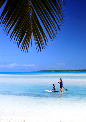 beach at one foot island in aitutaki lagoon